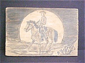 Pencil Drawing of Cowboy on Wood - Folk Art (Image1)