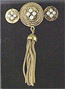 Victorian Style Bar Pin With Pearls & Tassel (Image1)