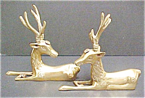Pair Korean Brass Stags - Handsome Antlers