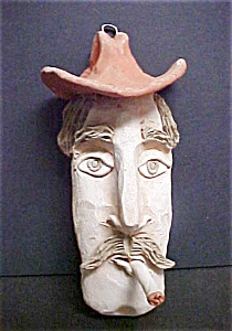 Cowboy Western Pottery Figural - Signed