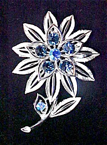 Silver Tone Floral Pin w/Stones - Signed (Image1)