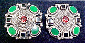 Ss Mexican Earrings - W/stones-signed