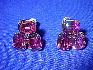 Striking Pink Faceted Stone Earrings