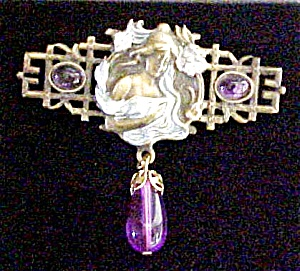 Art Nouveau Style Figural Pin - Signed (Image1)