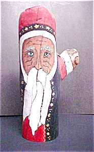 Folk Art Wooden Santa - Signed (Image1)