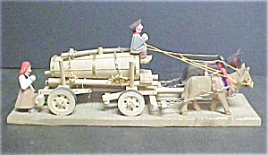 Figural Wood Folk Art - Horses, Wagon, Couple (Image1)