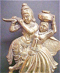 Brass Figural Plaque - Indian Couple Dancing (Image1)