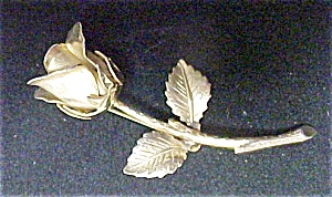 Gold Tone Long Stem Rose Pin - Signed (Image1)
