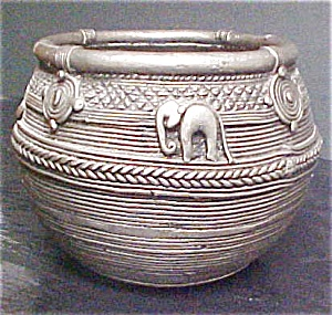 Textured Metal Pot from Nepal (Image1)