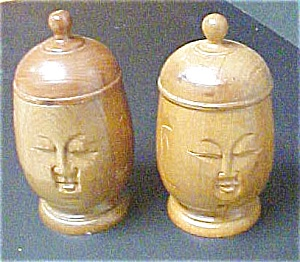 Pair Of Wooden Oriental Heads/boxes