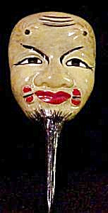 Vintage Asian Theatre Mask Pin (Image1)
