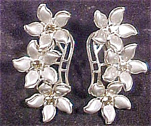 Silver Grey Flower Earrings W/rhinestones
