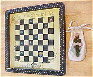Wood Handpainted Checker Set - Folk Art Style (Image1)