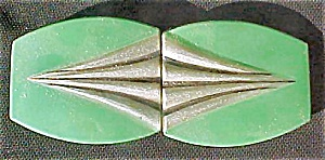 Art Deco Green/Silver Celluloid Belt Buckle (Image1)