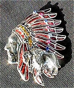 1940's Indian Head Pin with Buffalo (Image1)