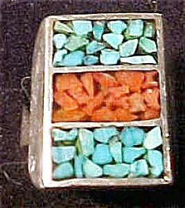 Handmade Navajo Silver Inlaid Ring (Image1)
