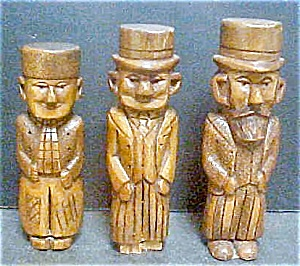 Vintage Three Wooden Carved Folk Art Men
