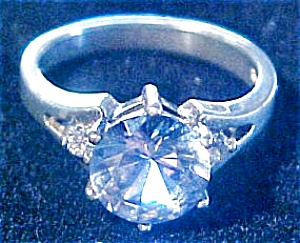 Sterling Diamonique Aqua Ice Ring (Image1)