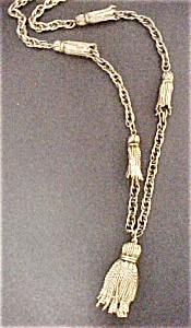 Antiqued Gold Tone Tassel Necklace & Earrings (Image1)