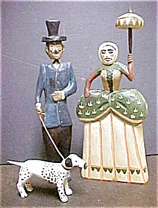 French Canadian Wooden Folk Art Couple (Image1)
