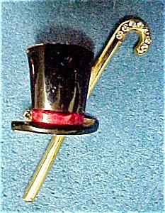 Vintage Top Hat & Cane Rhinestone  Pin (Image1)
