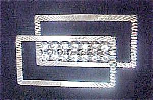 Geometric Silver-Toned Pin  W/ Rhinestones (Image1)