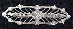 Victorian Style Filigree Pin With Rhinestones