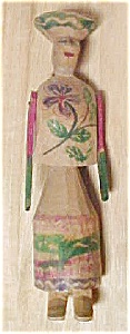 South American Folk Art Wooden Doll Figure