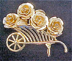 Cart Filled With Roses Pin - Signed