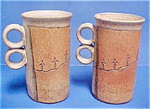 Pair Hand-thrown Pottery Mugs (Image1)