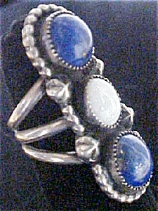Vintage Native American Ring w/lapis & opal (Image1)