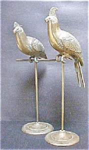 Vintage Pair Life Size Partridges on Stands (Image1)