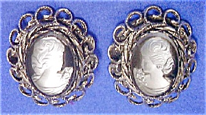 White Cameo Clip-Back Earrings on Black Stone (Image1)