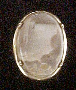 Picture Stone Pin W/gold-toned Setting