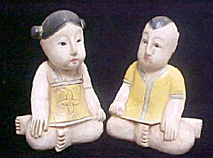 Chinese Wooden Girl And Boy Figures