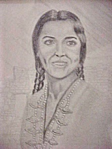Pen and Ink Print - Native American Woman (Image1)