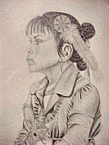 Pen and Ink Print of Native American Girl (Image1)