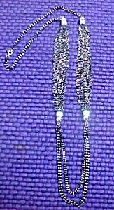 Multi Chain Necklace - Black w/White Spacers (Image1)