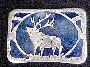 Vintage Stag With Inlay Western Belt Buckle