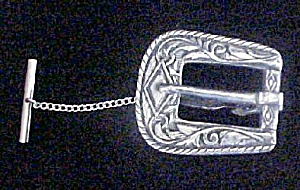 Vintage Silver-Toned Belt Buckle Tie Clasp (Image1)