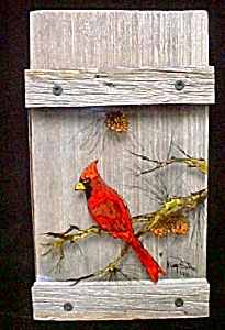 Reverse Painting On Glass - Cardinal Framed