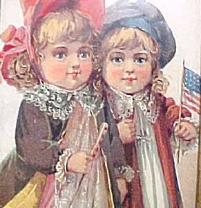 Two Little Girls Patriotic Print - Victorian