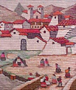 Andes Village Scene/ Peruvian Wall Hanging (Image1)