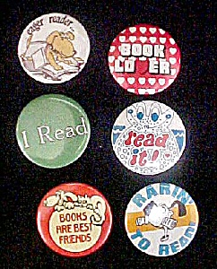 Set 6 Book Related Pin Backs - Reading (Image1)