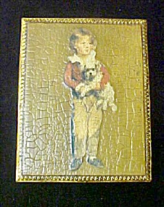 Vintage Wood Box w/Boy and Dog Design (Image1)