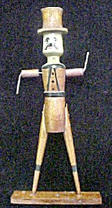 Wood Folk Art Man W/top Hat