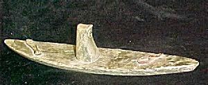Inuit Style Soapstone Kayak w/Inuit Figure (Image1)