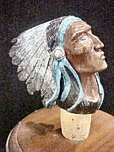 Bronze Head of Native American w/Headdress (Image1)