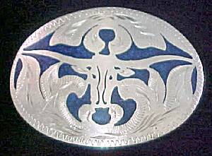 Long-Horn Steer - Metal Belt Buckle w/Inlay (Image1)