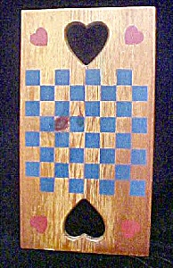 Vintage Wooden Checkers Game Board